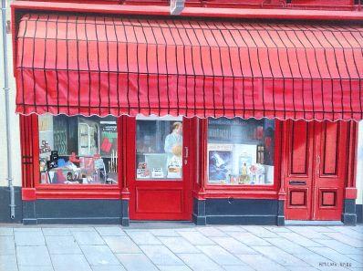 Schilderijen te koop van kunstschilder Huub Milder Drogisterij Linnewiel Arnhem olie op doek, doekmaat 30 x 40 cm rechtsonder gesigneerd, Expositie Galerie Wijdemeren Breukeleveen
