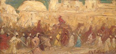 Kunstenaar Charles Hollman 7258, Charles Hollman Oosters tafereel met kamelen verkocht
