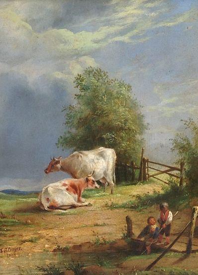 Kunstenaar Thomas S. Cooper 7260, Thomas S. Cooper Landschap met Koeien Olie op paneel Engelse School