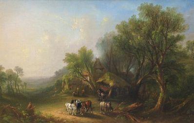 Kunstenaar Frederick Henry Henshaw B9731, F.H. Henshaw olie op doek, 28 x 44 cm