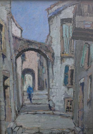 Kunstenaar Jan den Hengst 7306, Jan den Hengst Figuur in Mediterraans straatje Aquarel, 80 x 60 cm  Verkocht