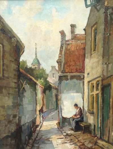 schilderijen te koop van kunstschilder, Gerard Wiegman Appelschillende vrouw in straatje olie op doek, doekmaat: 50 x 40 cm linksonder gesigneerd, expositie, galerie wijdemeren breukeleveen