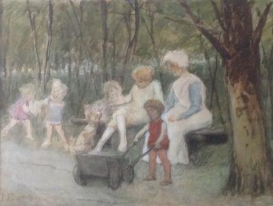 Schilderijen te koop, kunstschilder Joan Frans Berg Gezin op een bankje Aquarel, linksonder gesigneerd, Expositie Galerie Wijdemeren Breukeleveen