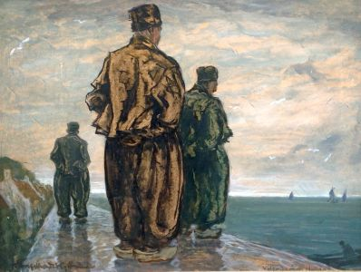 Kunstenaar Otto Engelhardt - Kuffhäuser 8023, Otto Engelhardt - Kuffhäuser, 'Volendam' Olie op paneel Beeldmaat: 43 x 56 cm