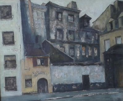 Schilderijen te koop van kunstschilder LFJ Marchand (leo), Hotel Vieille te Parijs, 1954 gemengde techniek op doek, doekmaat 60 x 50 cm rechtsonder Marchand gesigneerd, Expositie Galerie Wijdemeren Breukeleveen