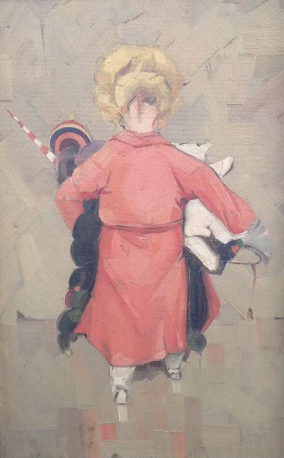 Kunst te koop bij Galerie Wijdmeren van kunstschilder J. Veltman Speelgoed olie op board, 76.5 x 35.5 cm