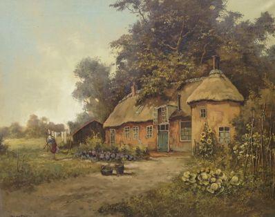 Schilderijen te koop van kunstschilder Jos van Dijk boerin in moestuin bij boerderij olie op doek, gesigneerd, Expositie Galerie Wijdemeren Breukeleveen