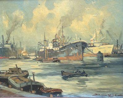 Schilderijen te koop van kunstschilder Jos van Dijk Schepen in de haven van Rotterdam olie op doek, gesigneerd, Expositie Galerie Wijdemeren Breukeleveen