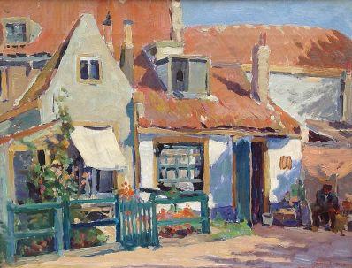 Kunstenaar Jan Sirks 8361, Jan Sirks Huisje te Brielle Olie op doek, beeldmaat: 30 x 40 cm