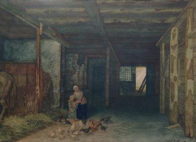 Kunstenaar Reinier E.J. Roeterink 8363, R. Roeterink de kippetjes voeren olieverf verkocht