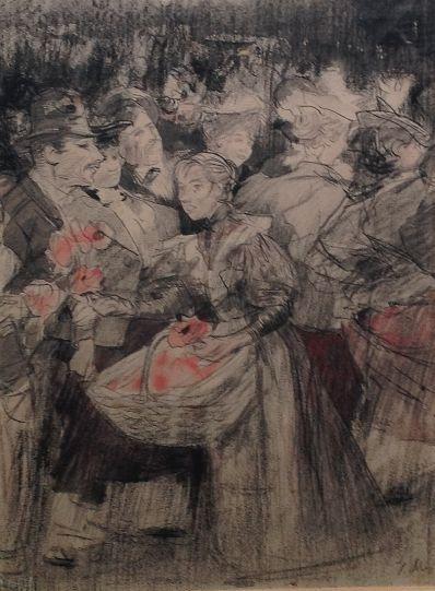 Kunstenaar Willem F.A.I. Vaarzon Morel 8376-1 Willem Vaarzon Morel Bloemenmeisje Gemengde technieken op papier rechtsonder gesigneerd verkocht  verkocht