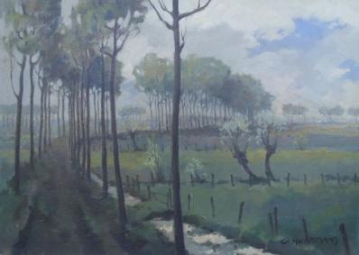 Schilderijen te koop van kunstschilder Gerard Hurkmans landelijk laantje olie op board, beeldmaat 57 x 77 cm rechtsonder gesigneerd, Expositie Galerie Wijdemeren Breukeleveen