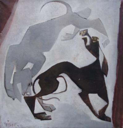 Schilderijen te koop van kunstschilder Giselle van Essen-Kuster Twee honden olie op doek, doekmaat 71.5 x 66 cm linksonder en verso gesigneerd, Expositie Galerie Wijdemeren Breukeleveen