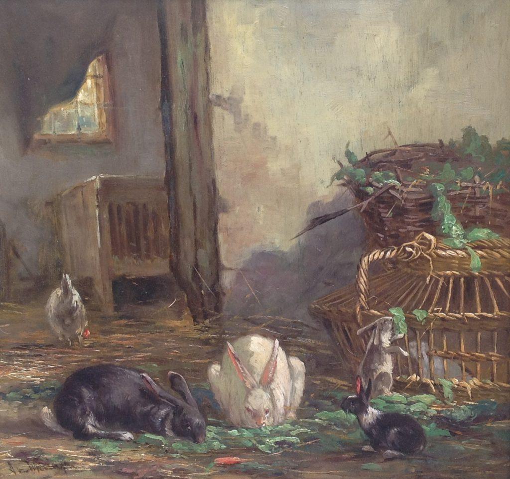 Kunstenaar A. van Wieringen 8401A A van Wieringen konijnenvoedertijd in de stal olie op doek, gesigneerd particuliere collectie