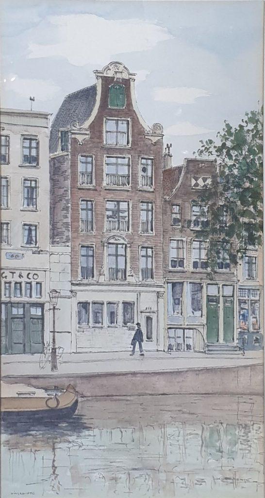 schilderijen te koop van kunstschilder, Jan den Hengst Singel 356, Amsterdam gemengde techniek op papier beeldmaat 49 x 25.5 cm rechtsonder gesigneerd, expositie, galerie wijdemeren breukeleveen