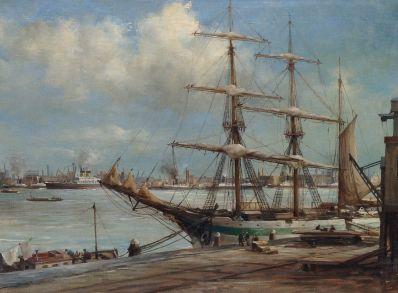 Schilderijen te koop van kunstschilder C.A. Streefkerk driemaster in haven van Amsterdam olie op doek, gesigneerd, Expositie Galerie Wijdemeren Breukeleveen