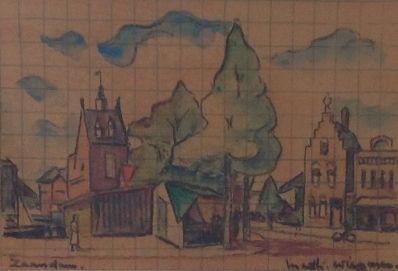 Kunstenaar Matthieu Wiegman 8467 Matthieu Wiegman Stadsgezicht Zaandam krijttekening op rasterpapier, beeldmaat 12 x 18 cm rechtsonder gesigneerd