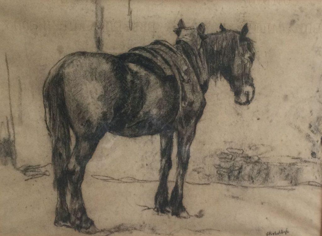 Schilderijen te koop van kunstschilder, Felicien Bobeldijk paardje krijt op papier, beeldmaat 28 x 37,5 cm rechtsonder gesigneerd, expositie, Galerie Wijdemeren Breukeleveen