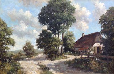 schilderijen te koop van kunstschilder, Peter Motz Boerderij in boslandschap olie op doek, gesigneerd, expositie, galerie wijdemeren breukeleveen