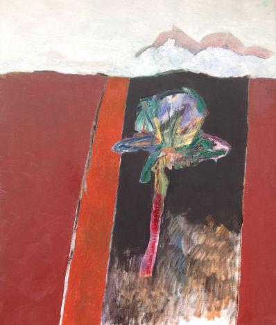 Schilderijen te koop van kunstschilder Jeroen Krabbé Highway 5, palmboom no. 3 olie op doek, gedateerd juni 1989, Expositie Galerie Wijdemeren Breukeleveen