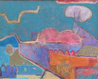 Schilderijen te koop van kunstschilder Jeroen Krabbé Ourzazare, Maannacht Marokko 1987 Olie op doek, doekmaat 40 x 50 cm, Expositie Galerie Wijdemeren Breukeleveen