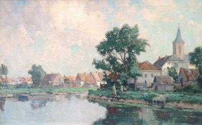 Schilderijen te koop van kunstschilder G.J. Delfgaauw Dorpje aan een vaart olie op doek, gesigneerd, Expositie Galerie Wijdemeren Breukeleveen