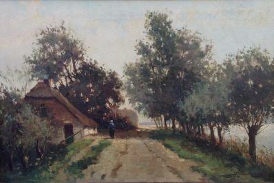 Schilderijen te koop van kunstschilder HJ Kaemmerer boerderij langs een vaart olie op doek, gesigneerd, Expositie Galerie Wijdemeren Breukeleveen