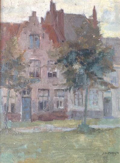 Kunstenaar Jam Hendrik Persijn 8730, J.H. Persijn huizen olieverf