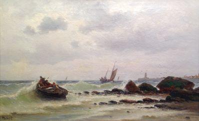 """Kunstenaar Armand-Auguste Freret A4285, A.A. Freret, 1830-1919 """"Marine Normandië"""" olie op doek, 38 x 62 cm particuliere collectie"""