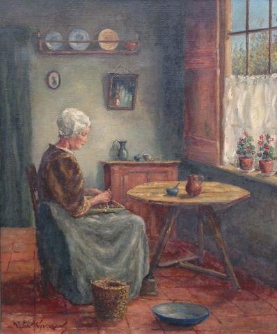 Kunstenaar A.J. van Eijbergen 8883, A.J. van Eijbergen (pseudoniem van Cor Bouter (1888-1966) Interieur met handwerkende vrouw Olieverf op doek Beeldmaat: 60 cm x 50 cm Linksonder gesigneerd