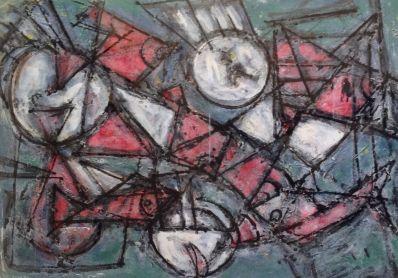 Kunstenaar Anna de Klerk van Loo 8970, Anna de Klerk van Loo abstracte compositie gemengde techniek