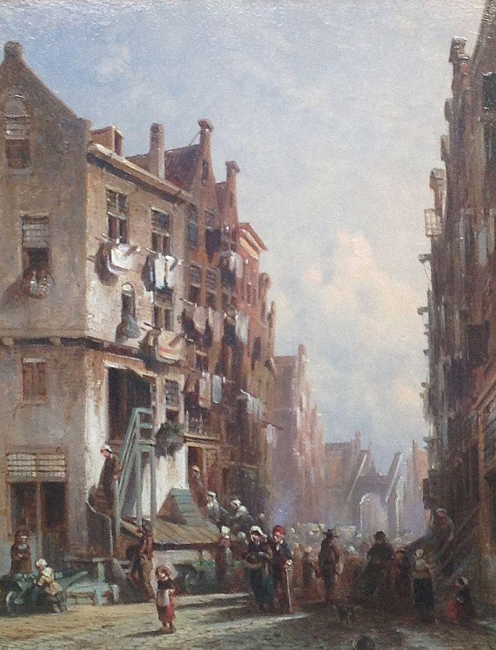 Schilderijen te koop van kunstschilder PG Vertin Stadsgezicht, marktstraatje Olie op paneel, paneelmaat 23 x 30 cm rechtsonder gesigneerd, Expositie Galerie Wijdemeren Breukeleveen