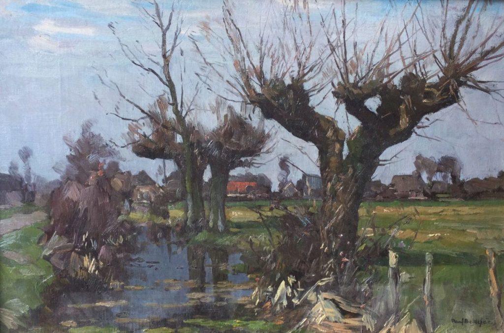 Kunst te koop bij Galerie Wijdemeren van kunstschilder Paul Bodifee Knotwilgen in polderlandschap olie op board, 30 x 45 cm rechtsonder gesigneerd