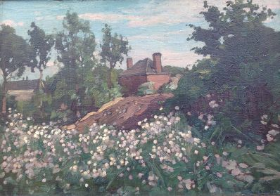 Kunst te koop bij Galerie Wijdemeren van kunstschilder Paul Bodifee Huisje op heuvel achter bloeiend veld marouflé, 28,5 x 40,5 gedateerd 1911