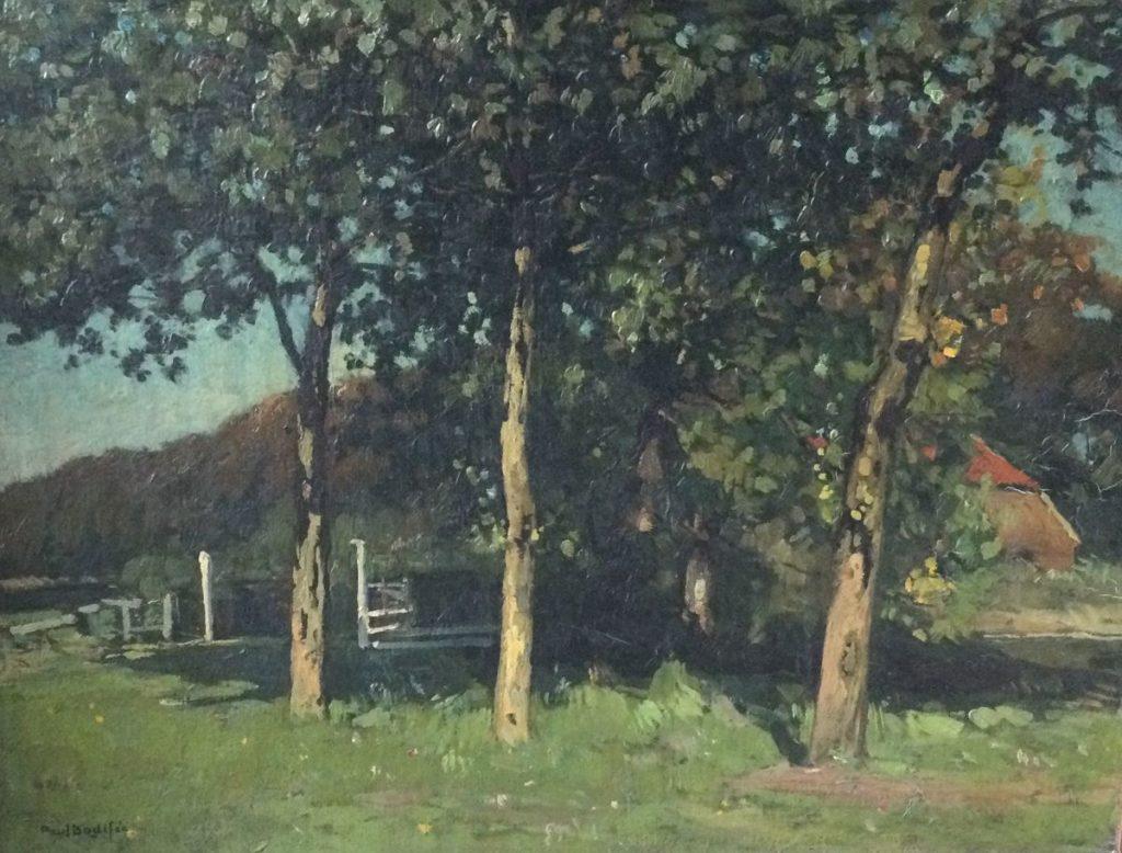 Kunst te koop bij Galerie Wijdemeren van kunstschilder Paul Bodifée Zicht op boerderij olie op board, 34 x 45 cm linksonder gesigneerd