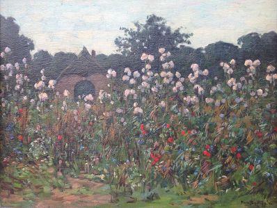 Schilderijen te koop, kunstschilder Paul Bodifee boerenschuur in bloemveld marouflé, gesigneerd, Expositie Galerie Wijdemeren Breukeleveen