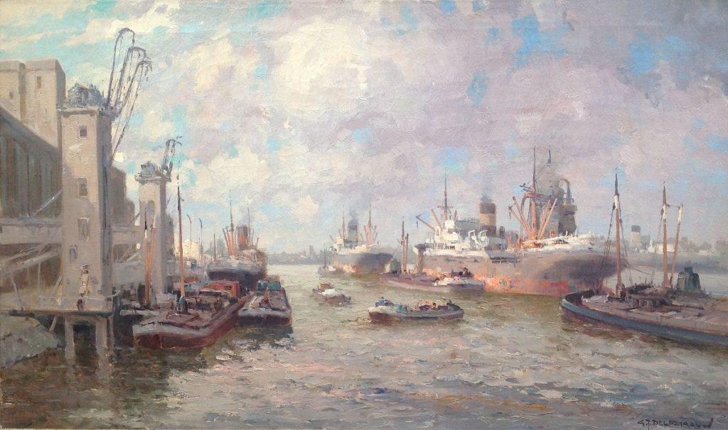 Schilderijen te koop van kunstschilder G.J. Delfgaauw Maashaven Rotterdam olie op doek, doekmaat 60 x 100 cm gesigneerd rechtsonder, Expositie Galerie Wijdemeren Breukeleveen