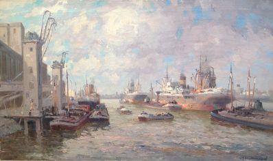Schilderijen te koop van kunstschilder G.J. Delfgaauw schepen in Rotterdamse haven olie op doek, gesigneerd, Expositie Galerie Wijdemeren Breukeleveen