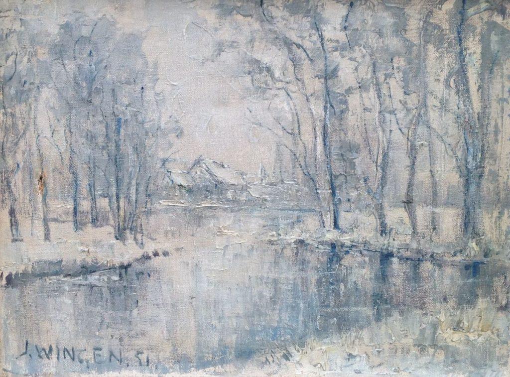 Kunstenaar Jan Wingen 9051A Jan Wingen Winter in het Zuiderpark olie op doek, 30,5 x 40 cm