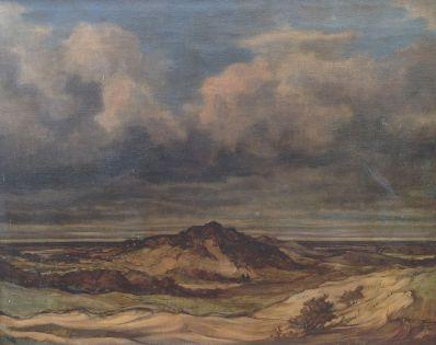 Kunstenaar Frans Huijsmans 9112, Frans Huijsmans landschap olie op doek, 60 x 75 cm particuliere collectie