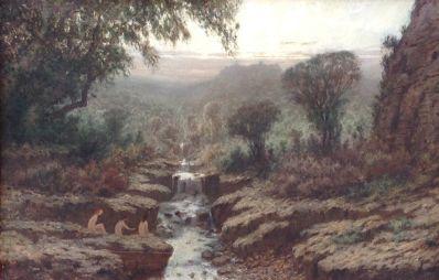 Kunstenaar Gerardus Johannes Josephus de Boer 9120, G.J. De Boer Idyllisch landschap met badende dames Olieverf op doek, 33 x 50 cm verkocht