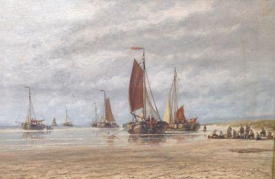 Schilderijen te koop, kunstschilder Hendrick Hulk vissersvolk bij bomschuiten op het strand olieverf op doek, 45 x 67 cm r.o. gesigneerd, Expositie Galerie Wijdemeren Breukeleveen