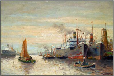 Kunstenaar Frans Simons 917, Frans Simons Haven Rotterdam Olie op doek