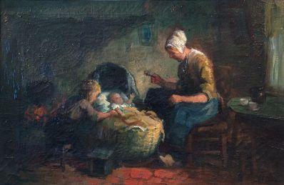 Kunstenaar Cornelis (Kees) Terlouw 920, Kees Terlouw, Interieur olie op doek, 35,5 x 50,5 cm. r.o. gesigneerd