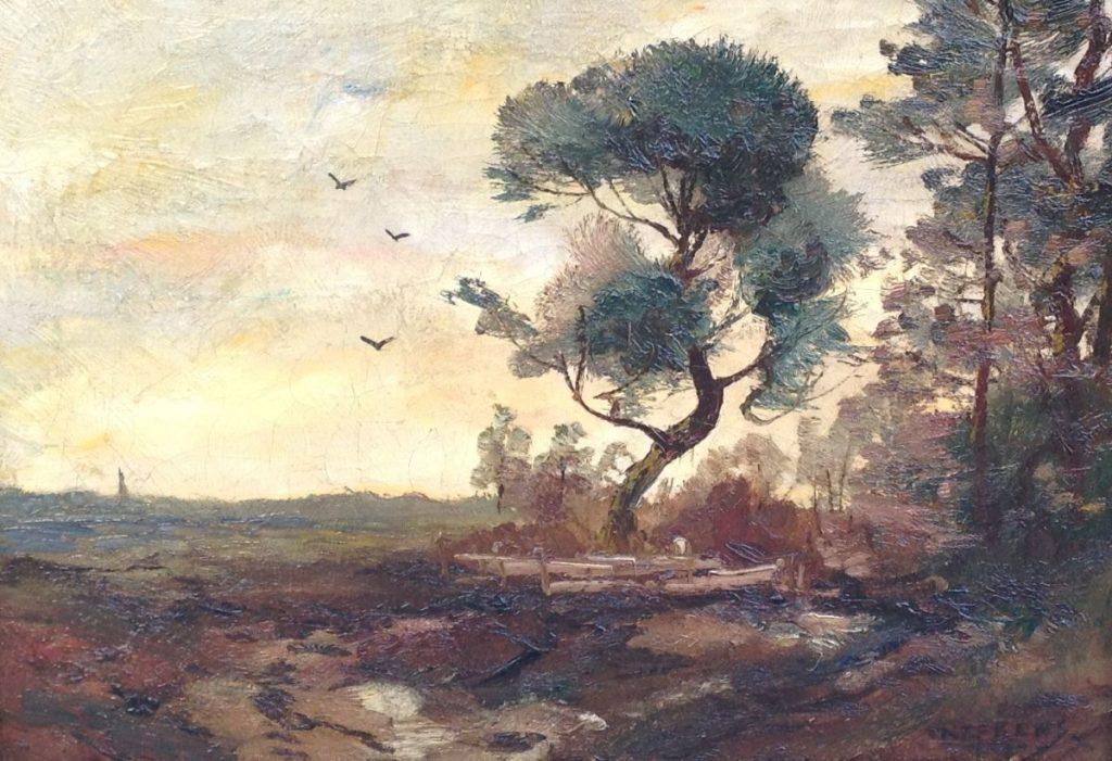 Kunstenaar Martinus Jacobus Nefkens 9259 MJ Nefkens Heidegezicht bij Lunteren olie op doek, r.o. gesigneerd