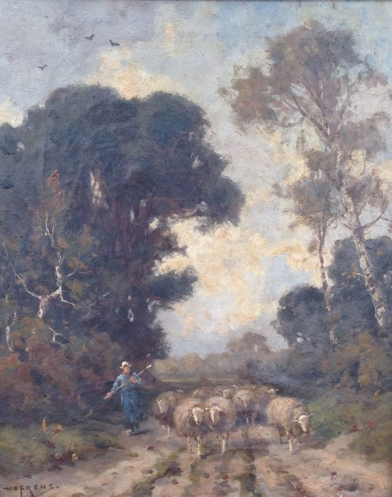 Kunstenaar Martinus Jacobus Nefkens 9267 MJ Nefkens schaapsherder met schapen op bospad olie op doek, l.o. gesigneerd
