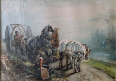 Kunstenaar Ferdinand Ernst Lintz 9413 - 100, F.E. Lintz 'Malle Jan' aquarel, 37 x 52 cm