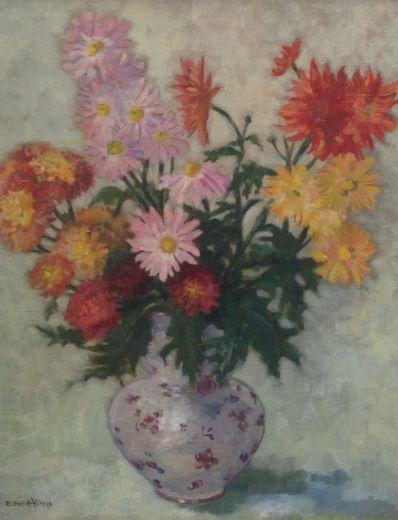 Kunstenaar Richard Höhler 9426, Richard Höhler bloemstilleven l.o. gesigneerd verkocht