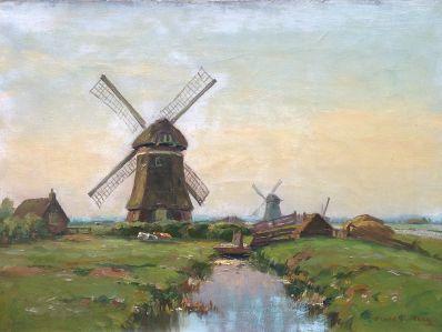 Kunst te koop bij galerie WIjdemeren van kunstschilder Bernard A. van Beek, Molens te Kortenhoef olie op doek, 38 x 51 cm rechtsonder gesigneerd