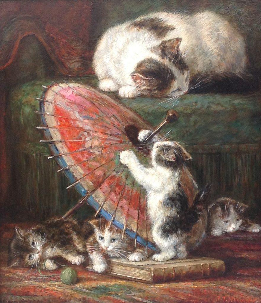 Kunstenaar Jan Hovener 9470, J.J. Hovener 'Moederpoes met kittens' Olie op paneel Beeldmaat: 43 x 38 cm Rechtsonder gesigneerd